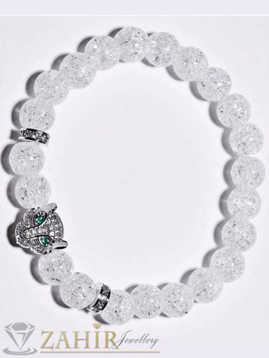 Кристална ластична гривна от 10 мм прозрачен бял ахат и кристална пантера, 2 цвята - GA1215