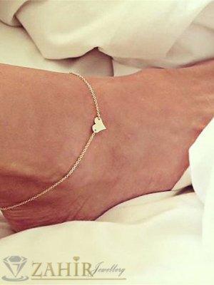 Нежна изчистена гривна за крак със сърце, златно покритие, дълга 21 + 5 см - GK1055