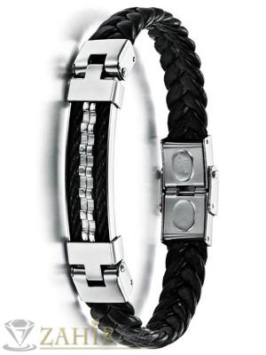 Черна силиконова гривна 22 см със стоманена плочка 6 см и закопчалка - GS1201