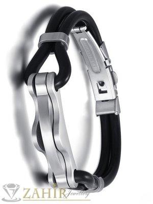 Черна силиконова гривна - 20 см с изящна стоманена плочка - 4 см и стоманена закопчалка - GS1204