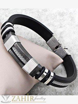 Черна силиконова гривна 22 см със стоманена плочка 3 см и метална нишка - GS1208
