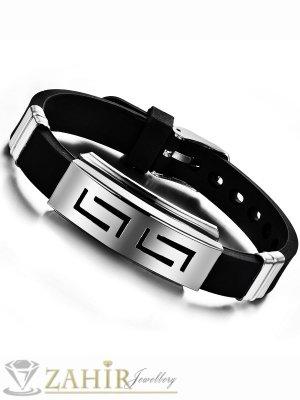 Черна силиконова гривна 22 см със стоманена плочка 4 см с гръцки мотиви - GS1209