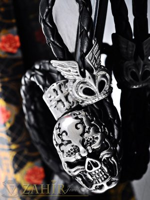 Тъмно кафява кожена гривна 22 см с изящно изработен стоманен череп 3 см - GS1211