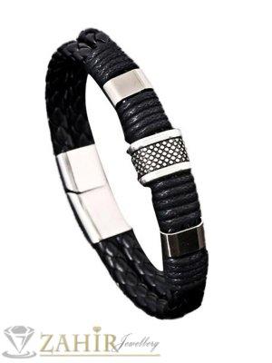 Черна кожена гривна 20 см със стоманени елементи - GS1220