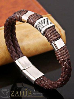 Тъмно кафява кожена гривна 20 см със стоманени елементи - GS1221