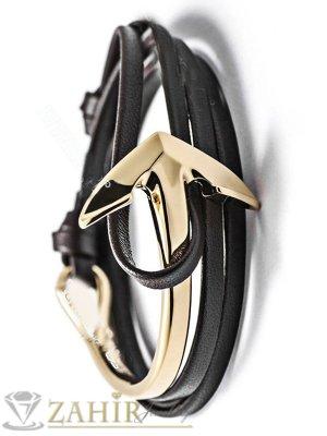 Стилна позлатена котва на многопластова тъмнокафява връв - GS1223