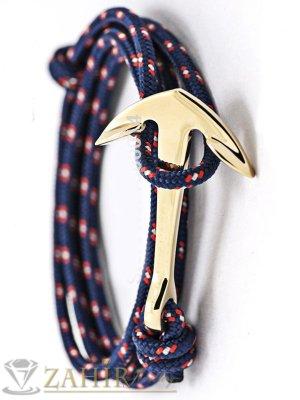 Малка позлатена котва на многопластова тъмносиня връв тип въже - GS1225