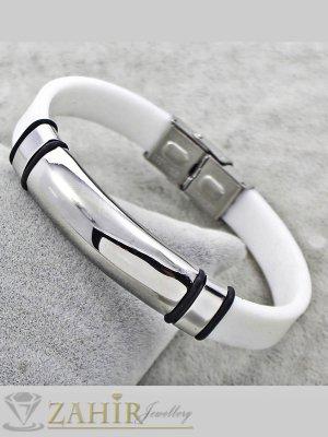 Бяла силиконова гривна 21 см със стоманена плочка 5 см  - GS1232