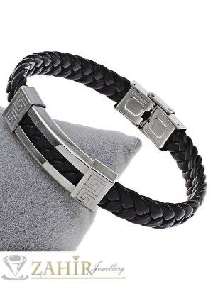 Елегантна черна плетена кожена гривна - 21 см със стоманена плочка 4 см - GS1239