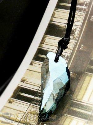 Прозрачен морско син кристален зъб 2,5 см на регулираща се черна връв - K1651