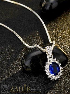 Нежно романтично колие 45 + 5 см с изящен тъмносин кристал 1,5 см, сребърно покритие - K1656