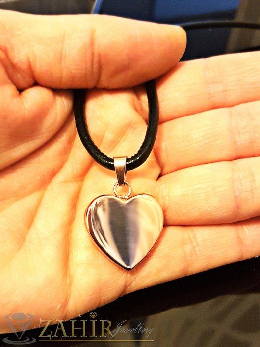 Висококачествено стоманено сърце 2 см с розово златно покритие на кожена каишка 45 см - K1665