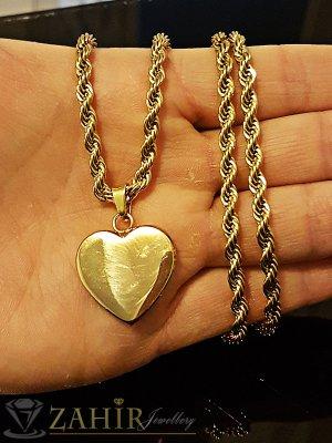 Висококачествено стоманено сърце 2 см на позлатен ланец 60 см - K1667
