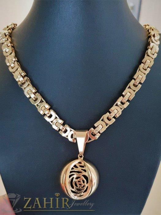 Дамски бижута - Едър гръцки ланец от стомана с гравирана рязана висулка 3,5 см , златно покритие - K1673
