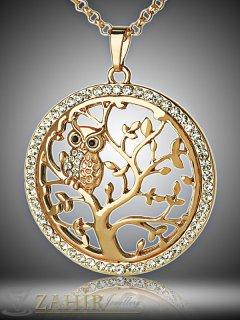 Изящно колие Дървото на живота 60 + 5 см с висулка с кристали 4 см, златно покритие - K1677