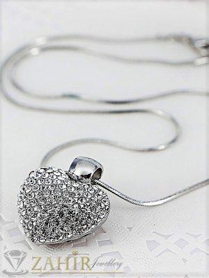 Нежно колие 40 + 5 см с висулка сърце 2,5 см с две лица, сребърно покритие - K1678