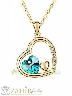 Романтично сърце 2 см със син кристал на позлатен ланец 40 + 5 см - K1689