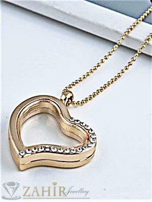 Изящно отварящо се сърце за снимки 3 см с магнитна закопчалка на 70 см позлатен ланец - K1696