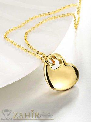 Изящна висулка сърце 2 см на тънък ланец 45 + 5 см, златно покритие - K1725
