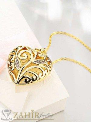 Изящно изработено сърце 3 см с две лица на тънък ланец 45 + 5 см, златно покритие - K1726