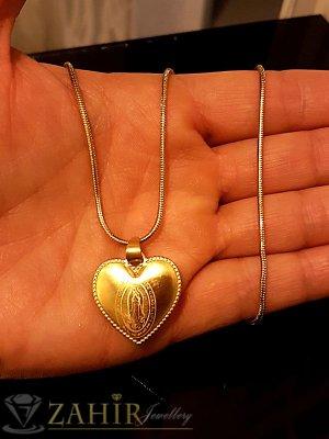 Елегантно стоманено позлатено сърце с Богородица на тънък стоманен ланец 44 см - K1737