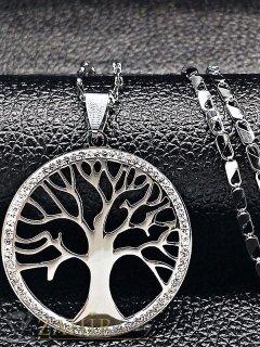Непроменящ цвета си висококачествен стоманен ланец 50 см със стоманена висулка Дървото на живота 3,5 см - K1750