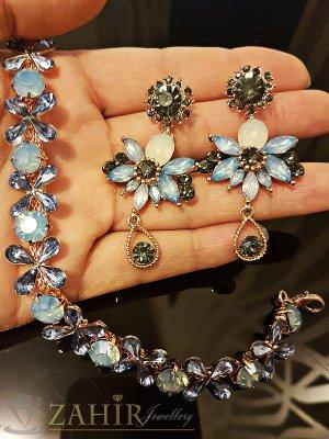 Луксозен кристален изящно изработен комплект гривна 18+5 см и обеци 5 см - KO1702