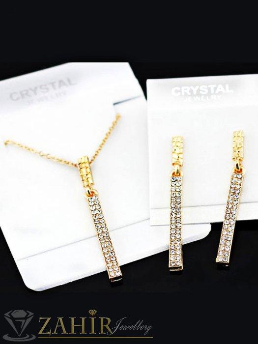 Комплект с кристални висулки и златно покритие, колие 40 + 5 см и обеци 5 см - KO1726