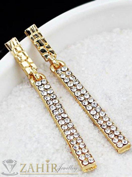 Дамски бижута - Комплект с кристални висулки и златно покритие, колие 40 + 5 см и обеци 5 см - KO1726