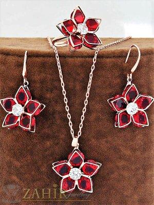Блестящ червен цирконен комплект, колие - 40 + 5 см, обеци - 4 см и регулиращ се пръстен - KO1729