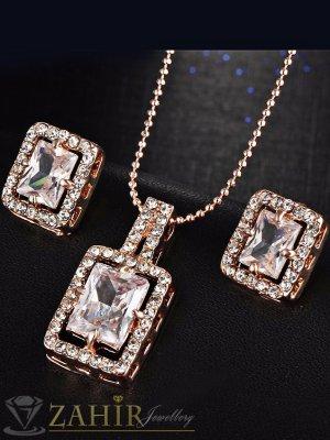 Кристален комплект със златно покритие, колие 40 + 5 см с висулка 2, 5 см и обеци 1,3 см - KO1736