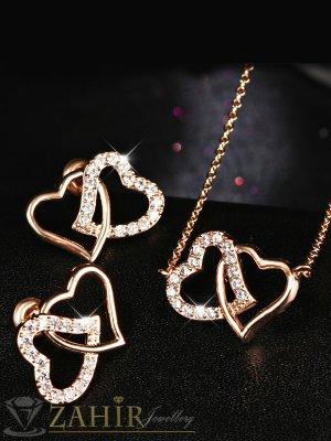 Нежен комплект с двойни преплетени сърца, колие 40 + 5 см и обеци 1,5 см, златно покритие - KO1739