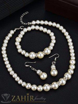 Троен перлен класически комплект, колие 40 + 5 см, ластична гривна и обеци 3 см - KO1740