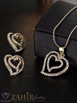 Изящен комплект с двойни кристални сърца, колие 40 + 5 см и обеци 2 см, златно покритие - KO1743