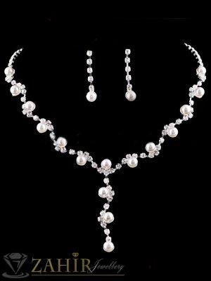 Луксозен комплект с нежни перли и бели кристали, колие 45 см, обеци 3 см, сребърно покритие - KO1748