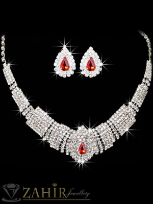 Официален комплект обсипан с фини бели кристали, колие 47 см, обеци 2 см, сребърно покритие - KO1752