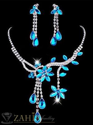 Официален комплект с кристални сини цветя, колие 45 см, с висяща част 7 см и обеци 6 см ,сребърно покритие - KO1757
