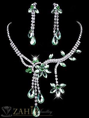 Официален комплект с кристални зелени цветя, колие 45 см, с висяща част 7 см и обеци 6 см ,сребърно покритие - KO1758