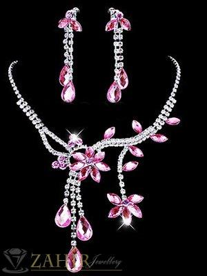 Официален комплект с кристални розови цветя, колие 45 см, с висяща част 7 см и обеци 6 см ,сребърно покритие - KO1759