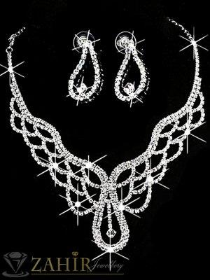 Луксозен комплект с кристална дантела, колие 45 см, обеци 3 см, сребърно покритие - KO1760