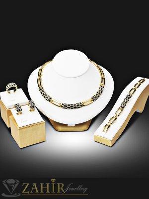 Луксозен четворен комплект с фини бели кристали, колие 40 см, гривна 17,5 см, обеци 2 см, златно покритие - KO1763