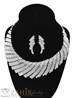 Луксозен комплект обсипан с фини бели кристали, колие 40+10 см, обеци 2,5 см, сребърно покритие - KO1771