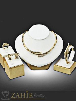 Елегантен четворен комплект с бели кристали, колие 41 см , гривна 18 см, обеци 3 см, златно покритие - KO1773