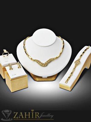Официален четворен комплект с бели кристали, колие 44 см , гривна 17 см, обеци 2 см, златно покритие - KO1774