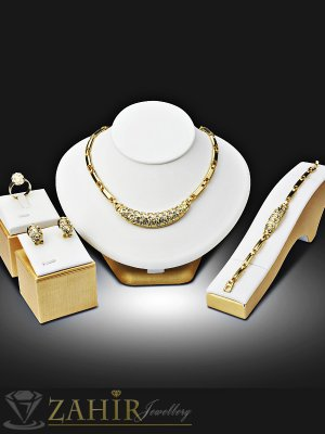 Елегантен четворен комплект с бели кристали, колие 43 см , гривна 18 см, обеци 2 см, златно покритие - KO1779