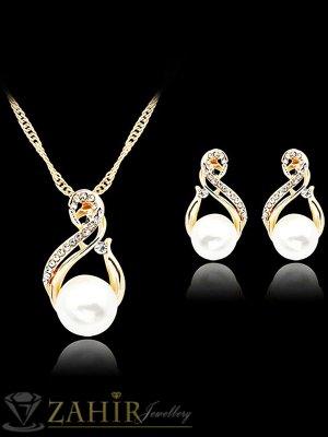Класически перлен комплект колие 40 + 5 см с висулка 3 см и обеци 2 см, златно покритие - KO1782