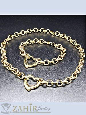 Висококачествен стоманен позлатен комплект, ланец 46 см, регулираща се гривна - KO1784