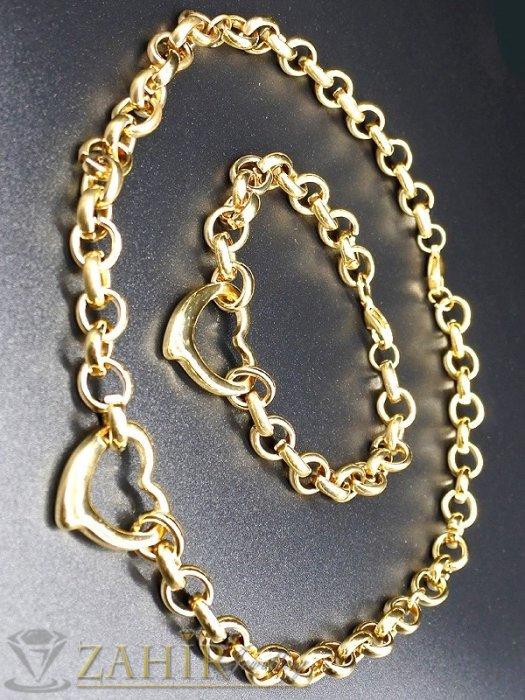 Висококачествен стоманен позлатен комплект със сърца, ланец и гривна в 4 размера - KO1784