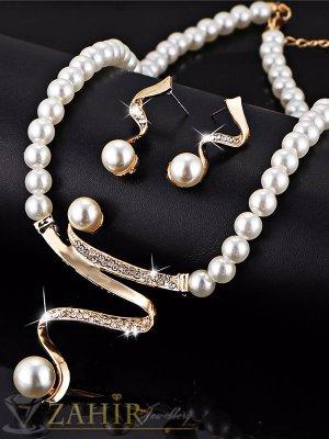 Нов модел перлен комплект, колие 40 + 5 см и обеци 3 см с кристали и златно покритие, Подарък ГРИВНА - KO1794