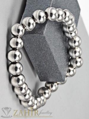 Ластична гривна от 8 мм метални топчета със сребърно покритие - MA1032